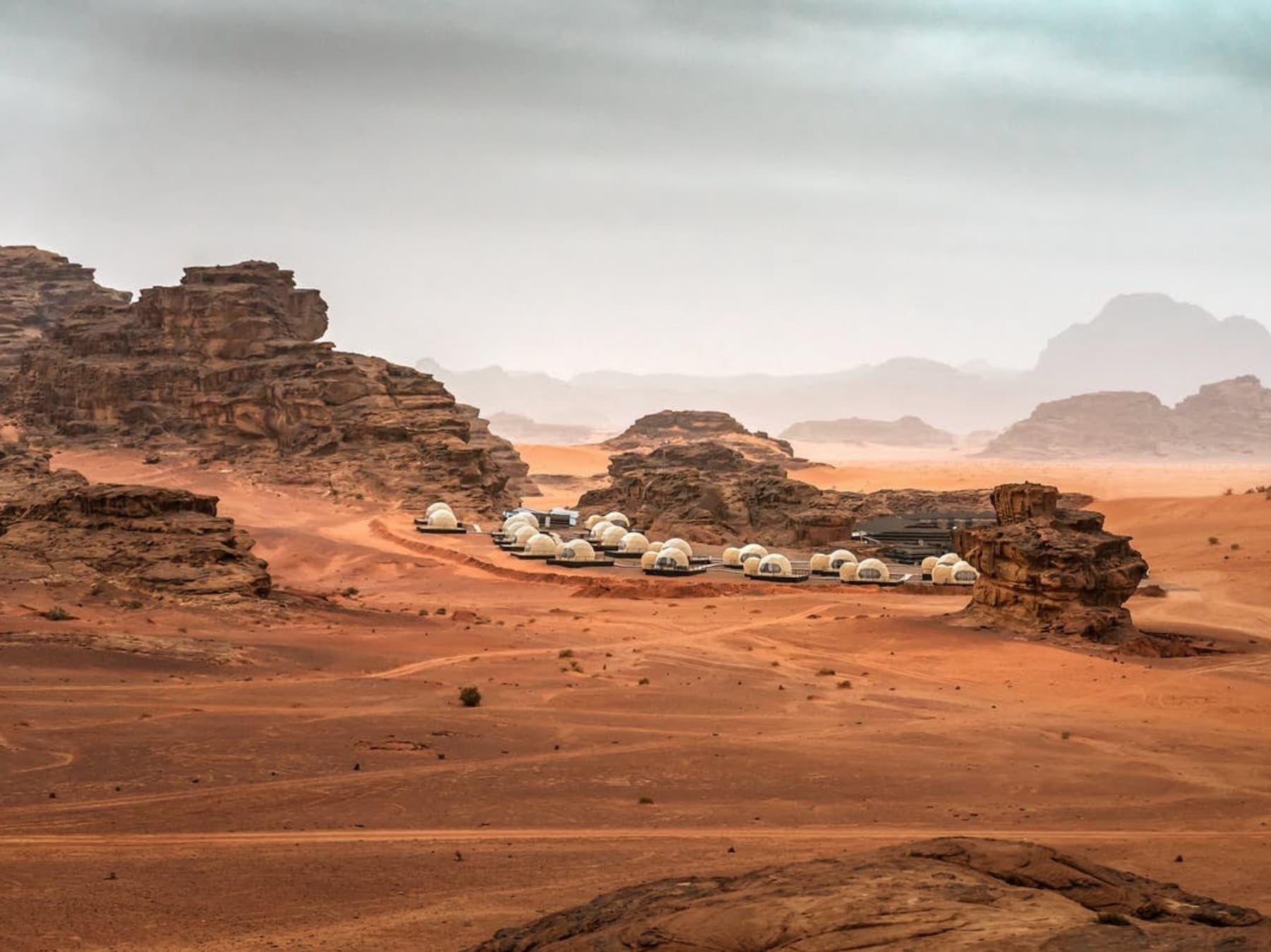 Martian Dome hotel in desert in Jordan