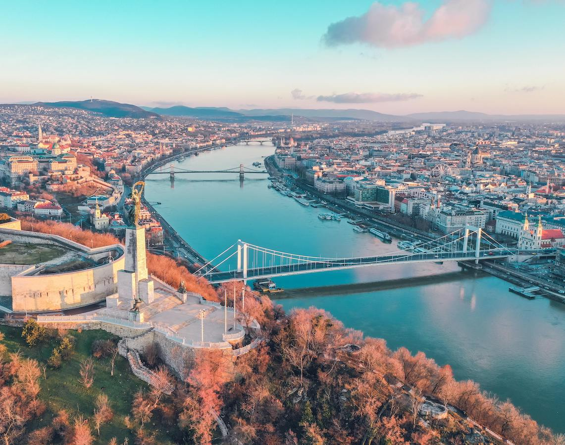 Arial shot of the Danube River flowing through Budapest