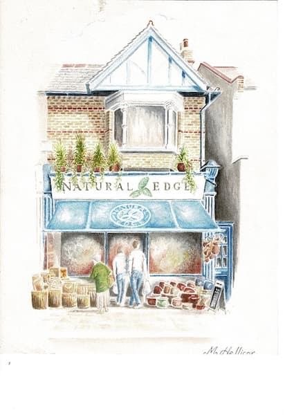 cute sketch showing the Natural Edge shopfront
