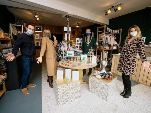 Urban-B team showing of their products in a shop
