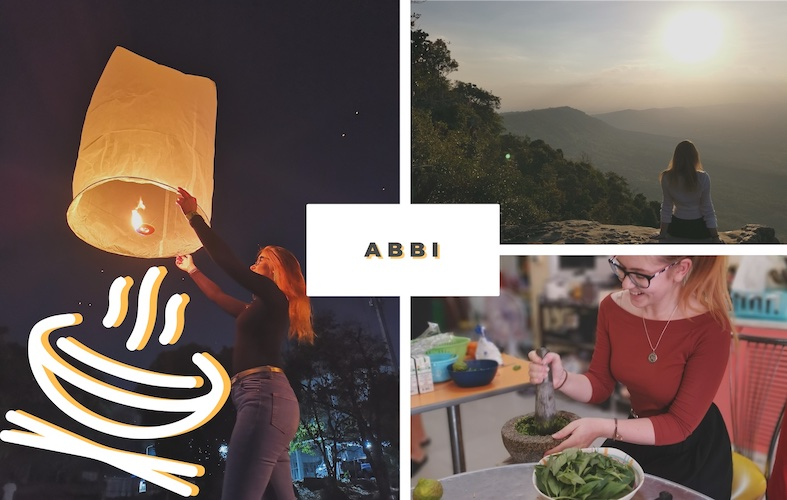 Abbi cooking some Asian food, Abbi watching the sunrise