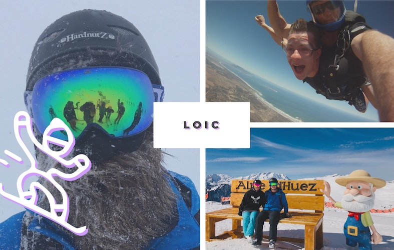 Loic sky diving in South Africa, Loic skiing in the French Alps
