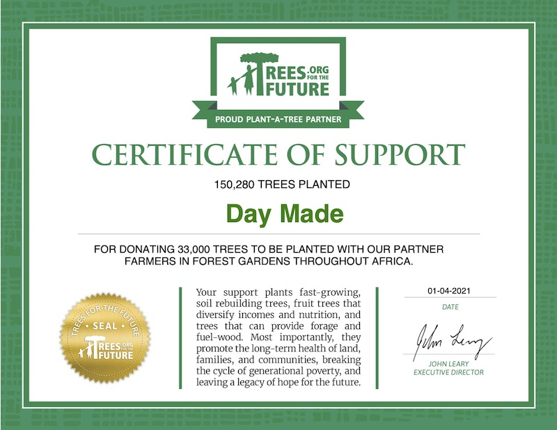 Certificate of support from Trees For The Future showing that the trees have been donated by DAYMADE